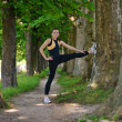 Woman stretching before fitness — Stock fotografie