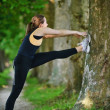 Woman stretching before fitness — Foto de Stock