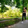 Young beautiful woman jogging — 图库照片