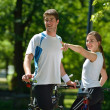 Happy couple ridine bicycle outdoors — Stock Photo #12616657