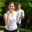 Young couple jogging at morning — Stock Photo #12618514