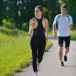 Young couple jogging at morning - 图库照片