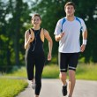 Young couple jogging at morning — Stock Photo #13213549