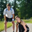 Young couple jogging at morning — Stock Photo #13213638