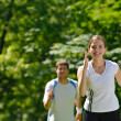 Young couple jogging at morning — Stock Photo #13213835
