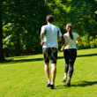 Young couple jogging at morning — Stock Photo #13213837