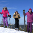 Winter season fun with group of girls — Stock Photo #13271178