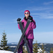 Winter woman ski — Stockfoto