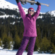 Winter woman ski — Stock Photo