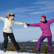 Winter season fun with group of girls — Stock Photo #13271457