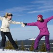 Winter season fun with group of girls — Stock Photo #13271458