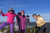 Winter season fun with group of girls — Stock Photo