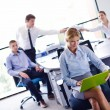 Business woman with her staff in background at office — Stock Photo #14455909