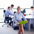 Business woman with her staff in background at office — Stock Photo #14456505