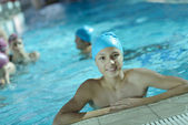 Happy children group at swimming pool — Foto de Stock