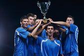 Soccer players celebrating victory — Stock Photo