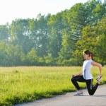žena strečink před fitness — Stock fotografie #16789547