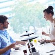 Young couple at luch — Stock Photo #16801829