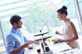 Young couple at luch — Stock Photo