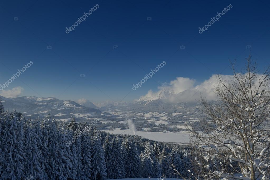Nature mountaint winter landscape with tree and fresh snow — Lizenzfreies Foto #17397793
