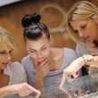 Girls shopping in jewelry store — Stock Photo