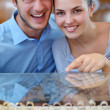 Happy young couple in jewelry store — Foto Stock