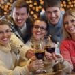 Group of happy young drink wine at party — Foto Stock