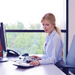 Business woman working on her desk in an office — Stock Photo