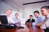 бизнес в видео встречи — Стоковое фото