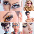 Collage photo of Beautiful Woman with Luxury Makeup — Stockfoto