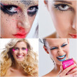 Collage Foto schöne Frau mit Luxus Make-up — Stockfoto