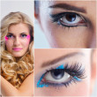 Collage Foto schöne Frau mit Luxus Make-up — Stockfoto #27394465