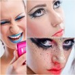 photo collage de belle femme avec du maquillage de luxe — Photo