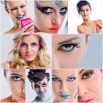 Collage Foto schöne Frau mit Luxus Make-up — Stockfoto