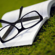 Glasses on a book outside with grass — Foto Stock