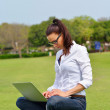 Woman with laptop in park — Stock Photo #28080917