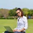 Woman with laptop in park — Stock Photo #28081019