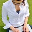 Woman with laptop in park — Stock Photo #28081131