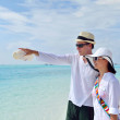 Happy young couple have fun on beach — Foto de Stock