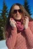 Happy woman at winter — Stock Photo