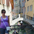 Tourist woman have beautiful vacation time in venice italy — Stock Photo