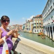 Tourist woman have beautiful vacation time in venice italy — Stock Photo #33735151