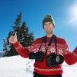 Photographer portrait at winter — Stock Photo
