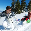 Family ridding sledge — Stock Photo #33933017