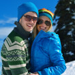 Young Couple In Winter  Snow Scene — Stock Photo
