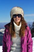 Happy woman portrait at winter — Stok fotoğraf
