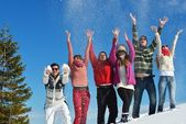 Friends have fun at winter on fresh snow — Stock Photo