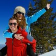 Young couple on winter vacation — Foto Stock