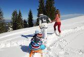 Family having fun on fresh snow — Stock Photo