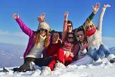 Friends on fresh snow — Stock Photo
